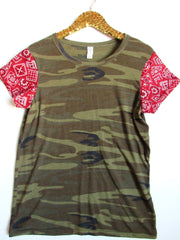 BLACK FRIDAY SAMPLE SALE - Camo Tee with Bandana Sleeves - Sleeve Tee - Ruffles with Love - RWL