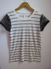 BLACK FRIDAY SAMPLE SALE - Striped Tee with Lace Sleeves - Sleeve Tee - Ruffles with Love - RWL