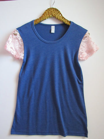 BLACK FRIDAY SAMPLE SALE - Light Pink Lace SLeeves - Sleeve Tee - Ruffles with Love - RWL