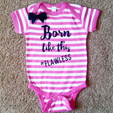 Born Like This - #Flawless - Striped Onesie - Girls Onesie -  Body Suit - Glitter  - Onesie - Ruffles with Love - Baby Clothing - RWL Kids