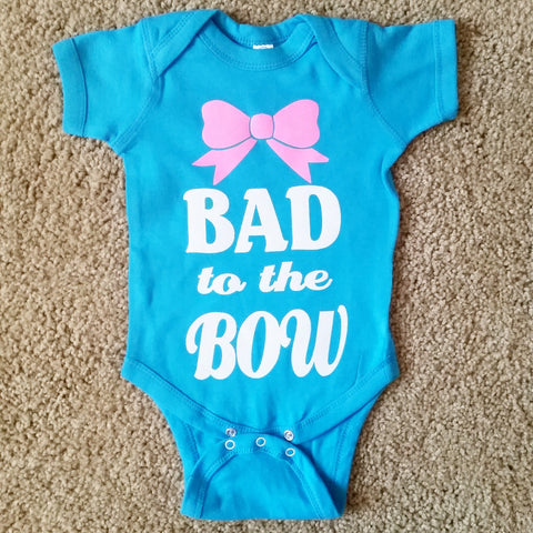 Bad to the Bow - Girls Onesie -  Body Suit - Glitter  - Onesie - Ruffles with Love - Baby Clothing - RWL - On Wednesdays - Mommy's Princess - Diva