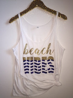 Beach Vibes - Slouchy Relaxed Fit Tank - Ruffles with Love - Fashion Tee - Graphic Tee - Workout Tank
