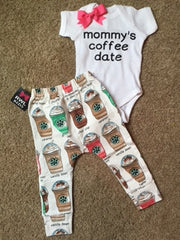 Mommy's Coffee Date - Girl Onesie  - Childrens Clothing  - Ruffles with Love - Baby Clothing - RWL Kids