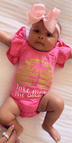 Take Me to the Beach  - Pink Ruffle Onesie - Mia Grace Designs - Adventure Line