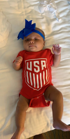 USA Womens Soccer Onesie - Mia Grace Designs - Ruffles with Love - Girls Onesie