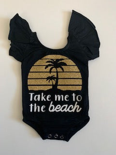 Take Me to the Beach - Ruffle Onesie - Mia Grace Designs - Adventure Line