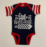 Little Firecracker - 4th of July - Mia Grace Designs - Girls Onesie -  Body Suit - Glitter  - Onesie - Ruffles with Love - Baby Clothing - RWL Kids