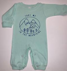 Take Me to the Mountains - Ruffle Onesie - Mia Grace Designs - Adventure Line