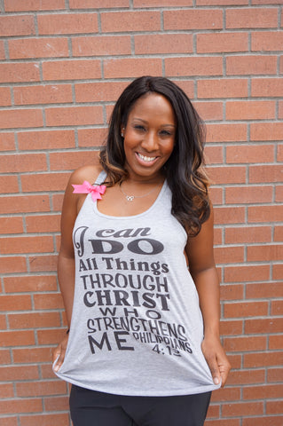 Philippians 4:13 - Heather Gray - I can do all things through Christ who strengthens me - Racerback tank - Bible verse - Motivational Tank - Womens fitness Tank - Workout clothing