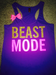 BLACK FRIDAY SAMPLE SALE - Beastmode Tank - Purple - Ruffles with Love - Womens Fitness - Workout Tank - Bow Tank