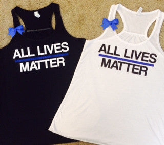 All Lives Matter- LEO tank - Thin Blue Line Tank - Police Wife Tank - Law Enforcement - Fitness Clothes - Ruffles with Love