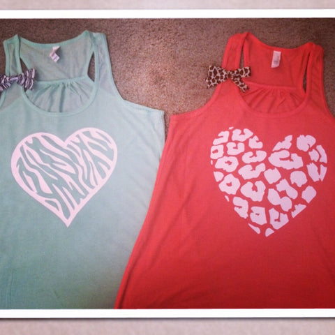 Animal Print Heart Tank - Leopard - Zebra - Ruffles with love - Womens Fitness Tank