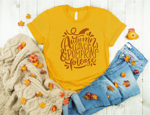 Autumn Leaves and Pumpkins Please - Fall Tee - Ruffles with Love - Unisex Tee
