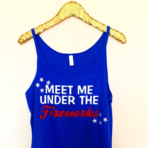 Meet Me Under The Fireworks - BLUE -Slouchy Relaxed Fit Tank - Holiday Tank - Fireworks Tank - Fourth of July - Ruffles with Love - Fashion Tee - Graphic Tee