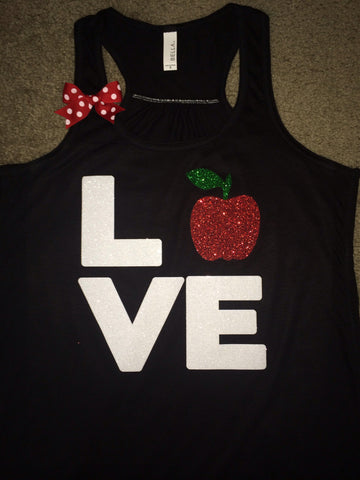 Love Teacher Tank - Apple - Ruffles with Love - Fun Tank - LOVE Symbol Tank