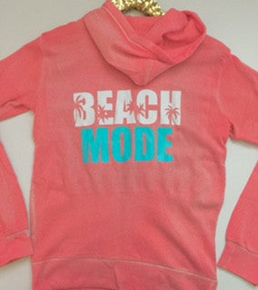 Beach Mode - Coral Hoodie - Eco Fleece - Zip Up Hoodie - Ruffles with Love