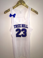 Tree Hill Basketball Jersey Tank - WHITE - Nathan Scott - Lucas Scott - One Tree Hill Tank - Ruffles with Love - RWL - Bow Tank