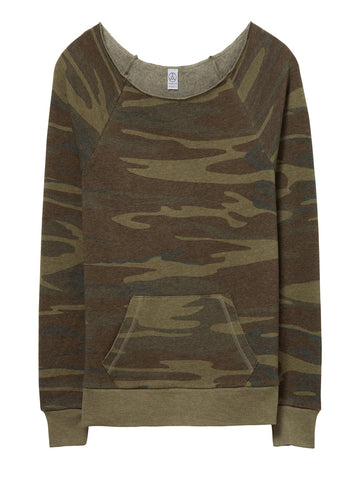 Camo - Off The Shoulder Sweatshirt- Eco Fleece - Ruffles with Love