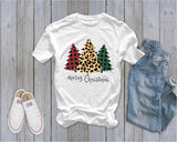 Merry Christmas - Plaid and Leopard Tree   - Ruffles with Love - Tee