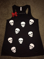 Mini Skull Tank - Ruffles with Love - Fun Tank - Skull Tank - Womens Fitness