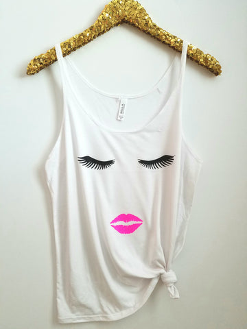 Eyelashes and Lips  - Makeup Tank - Slouchy Relaxed Fit Tank - Ruffles with Love - Fashion Tee - Graphic Tee - Workout Tank