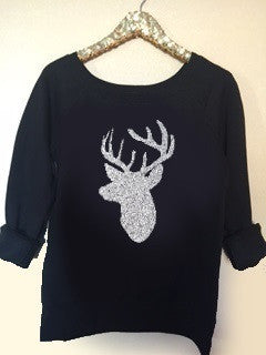 Deer Off Shoulder Sweatshirt - Ruffles with Love - Off the Shoulder Sweatshirt - Womens Clothing - RWL