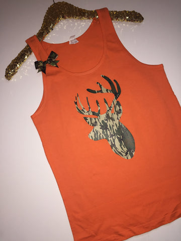 Camo Deer - Neon Orange - UNISEX TANK -  Ruffles with Love - Womens Fitness - Workout Tank - Bow Tank