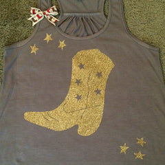 Cowboy Boot Tank - Cowgirl - Country Tank - Ruffles with Love - Womens Fitness
