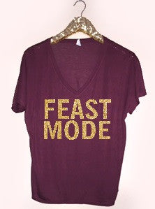 Feast Mode - Holiday V-Neck - Ruffles with Love - RWL - Graphic Tee