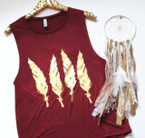 Feather Muscle Tank - Maroon - RWL - Ruffles with Love - Womens Fashion Clothing - Graphic Tee - Fashion Tee