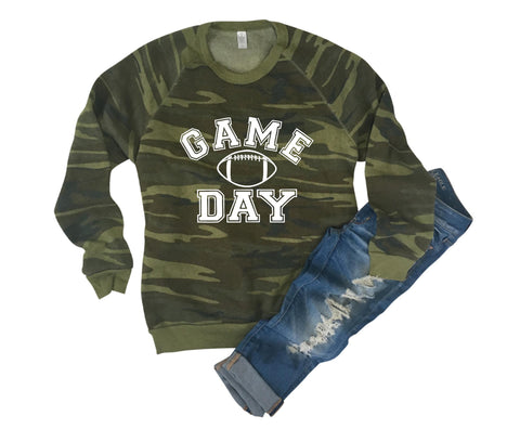 Game Day - Camo Sweatshirt - Eco Fleece - Ruffles with Love - RWL