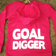 Goal Digger - Eco Fleece - Workout Zip Up Hoodie - Ruffles with Love