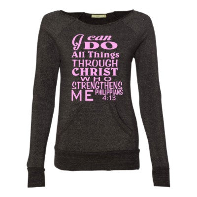 I Can Do All Things - Philippians 4:13 - Eco Fleece - Off the Shoulder Sweatshirt - Ruffles with Love - Racerback Tank - Womens Fitness - Workout Clothing - Workout Shirts with Sayings