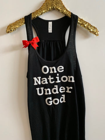 IG - FLASH SALE - One Nation Under God -  Ruffles with Love - Racerback Tank - Womens Fitness