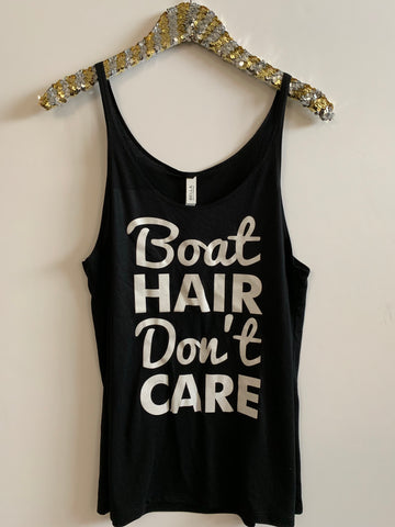 IG - FLASH SALE - Boat Hair Don't Care - Ruffles with Love - Racerback Tank - Womens Fitness
