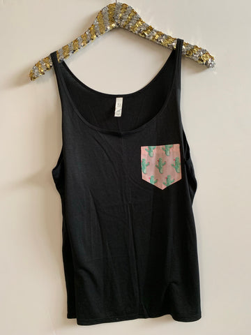 IG - FLASH SALE - Cactus Pocket Tank - Ruffles with Love - Racerback Tank - Womens Fitness