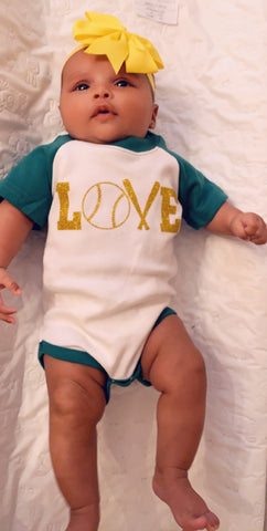 Baseball Love Short Sleeve Onesie - Pick Your Colors - Mia Grace Designs