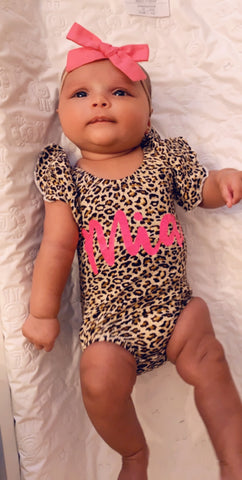 Leopard Ruffle Sleeve Custom Name Onesie - Mia Grace Designs