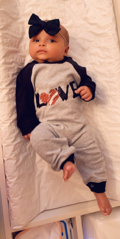 Football Love Long Sleeve - Pick Your Colors - Ruffle Onesie - Mia Grace Designs