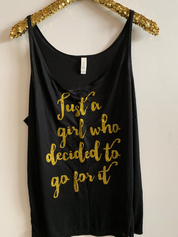 IG - FLASH SALE - Just a Girl Who Decided to Go For It -  Ruffles with Love - Racerback Tank - Womens Fitness