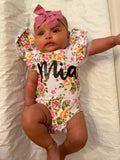 Floral Ruffle Sleeve Custom Name Onesie - Mia Grace Designs
