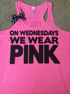 On Wednesdays We Wear Pink - NEON - Ruffles with Love - Racerback Tank - Womens Fitness - Workout Clothing - Workout Shirts with Saying