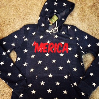 Merica Hoodie  - Eco Fleece - Workout Hoodie - Ruffles with Love