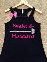 Muscles and Mascara - Ruffles with Love - Racerback Tank - Womens Fitness - Workout Clothing - Workout Shirts with Sayings