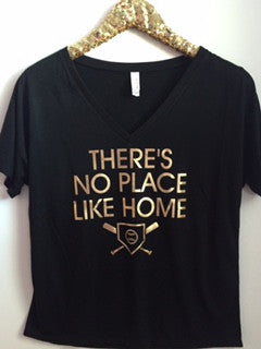 There's No Place Like Home - V-Neck Relaxed Tee - Ruffles with Love - Fashion Tee - Graphic Tee - Workout Tank