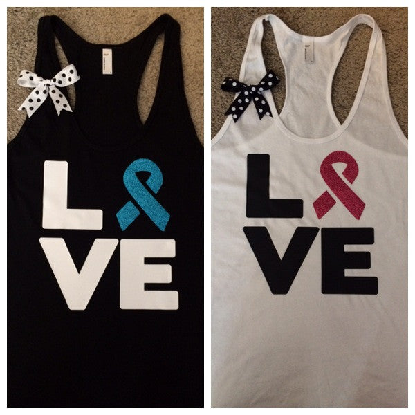 Love - Cancer Awareness Tank - Ruffles with Love - LOVE Symbol Tank