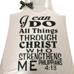 Philippians 4:13 - Pink - I can do all things through Christ who strengthens me - Racerback tank - Motivational Tank - Womens fitness
