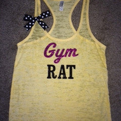 Gym Rat Tank - Ombre - Womens Fitness Tank - Ruffles with Love - Racerback Tank