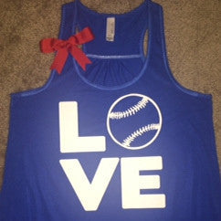 Love Baseball Tank - Blue - Ruffles with Love - Fun Tank - LOVE Symbol Tank