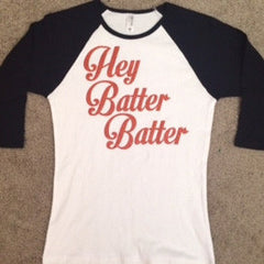 Baseball Womens Raglan Tee - Hey Batter Batter - Ruffles with Love